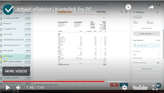 Video: Arbejd effektivt i Kontolink fra PC
